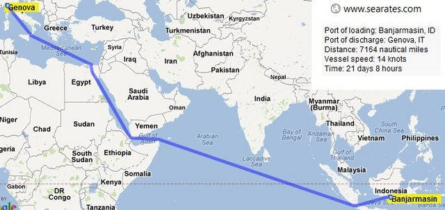 Il percorso fatto per trasportare l'olio di palma dall'Indonesia ai porti europei.