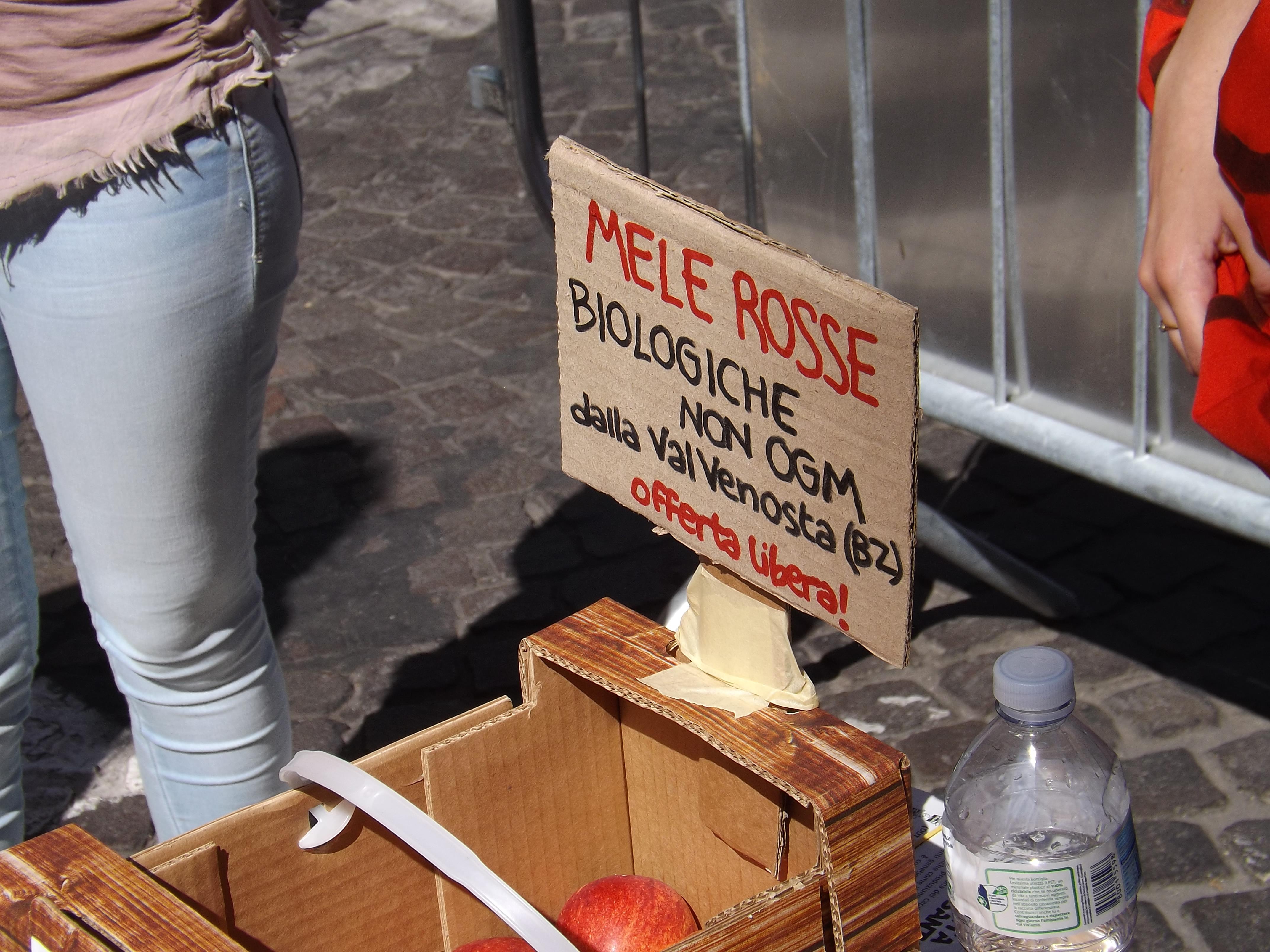 Bologna, al presidio offerte mele biologiche AntiMonsanto.