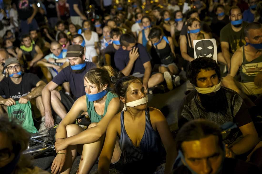 Una dimostrazione in Spagna contro la legge bavaglio. Foto: Reuters