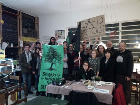#Italy Demo solidarity from Support #Hambi Resistance night in #Torino #Solidarity to resistent peopels and the Earth defenders: #Earth Liberation is Total #Liberation!